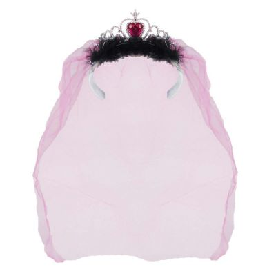 Silberfarbenes JGA-Diadem mit pinkfarbenem Braut-Schleier