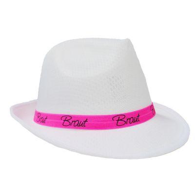 JGA Hut - Braut - Weiss mit pinkfarbenem Hutband