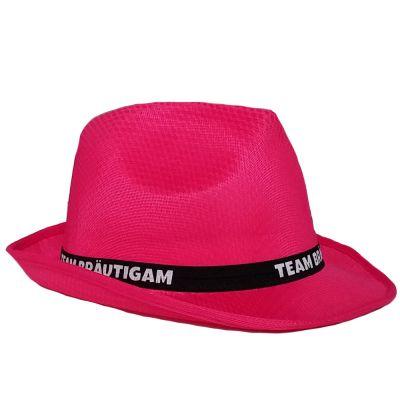 Pinkfarbener  JGA Gangster-Hut mit Team Bräutigam-Hutband