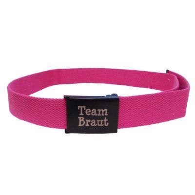 Pinkfarbener JGA Gürtel mit schwarzer Team Braut-Schnalle