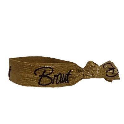 Goldfarbenes Haargummi mit Braut-Schriftzug