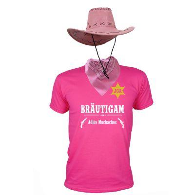 Pinkfarbenes Bräutigam-Cowboy-Kostüm für den Junggesellenabschied