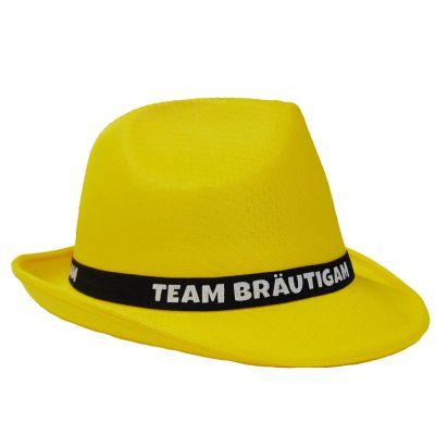 Gelber JGA Gangster-Hut mit Team Bräutigam-Hutband