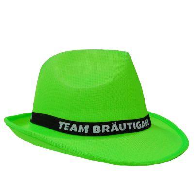 Neongrüner JGA Gangster-Hut mit Team Bräutigam-Hutband