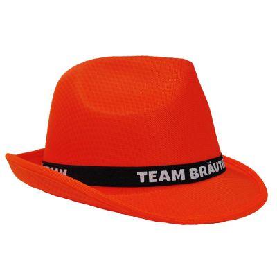 Orangefarbener JGA Gangster-Hut mit Team Bräutigam-Hutband