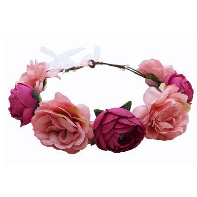 Rosafarbener JGA Blumenkranz - Junggesellinnenabschied-Kopfschmuck