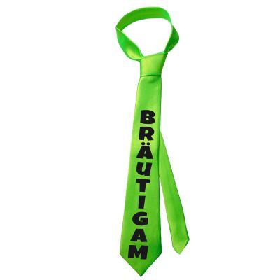 Neongrüne JGA-Krawatte mit Bräutigam-Aufdruck