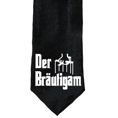 Schwarze Krawatte mit Bräutigam-Motiv für den JGA - nah
