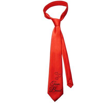 JGA Krawatte mit Team Braut-Motiv und Herzen - Rot