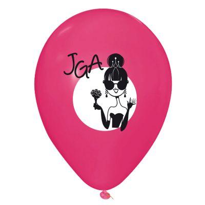 Pinkfarbene JGA Luftballons mit Dolly-Braut Motiv