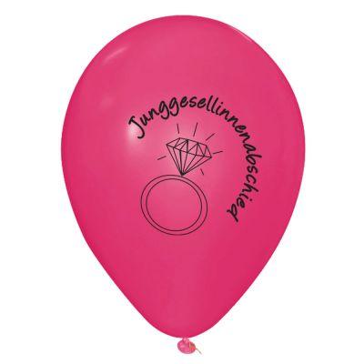 Pinkfarbene Luftballons mit Junggesellinnenabschied-Aufdruck