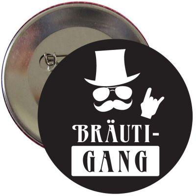 Schwarzer JGA Männer-Button mit Bräutigang-Motiv