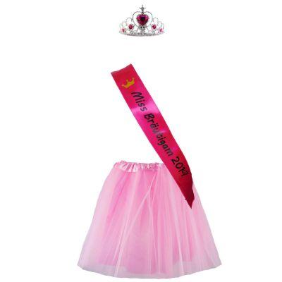 JGA Bräutigam-Kostüm im Miss-Stil - Rock, Schärpe und Krone