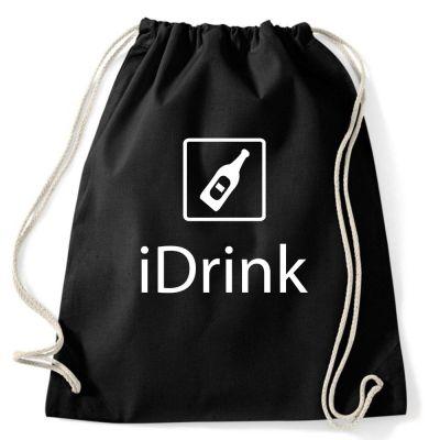 Schwarzer Junggesellenabschied-Rucksack mit iDrink-Motiv
