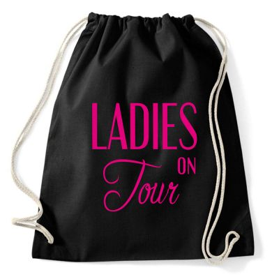 Schwarzer Rucksack mit Ladies on Tour-Motiv