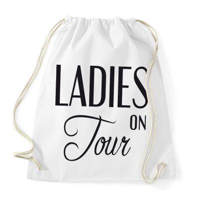 Weißer Turnbeutel mit Ladies on Tour-Schriftzug