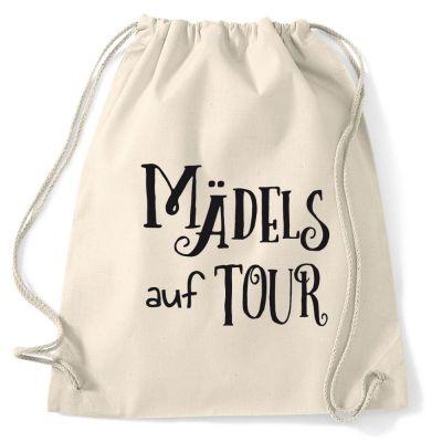 Naturfarbener Rucksack mit Mädels auf Tour-Schriftzug