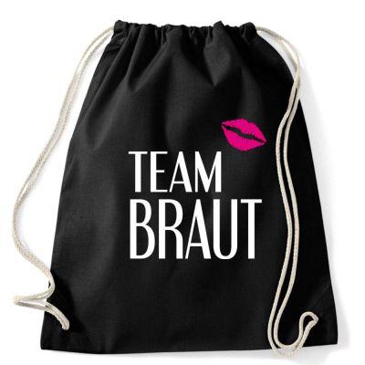 Schwarzer Team Braut-Rucksack mit Kussmund für den JGA