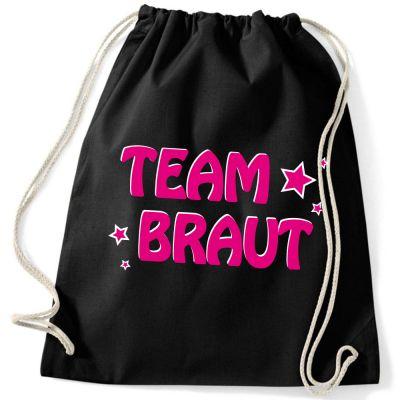 Schwarzer Rucksack mit Team Braut-Schriftzug und Sternen