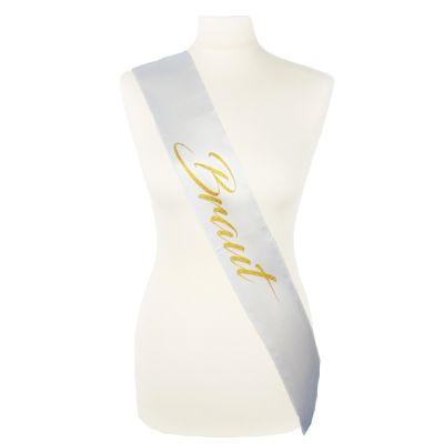 Weiße Junggesellinnenabschied-Schärpe mit goldfarbenem Braut-Aufdruck