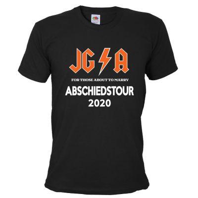 Schwarzes Männer JGA-Shirt mit Hard Rock Abschiedstour-Motiv