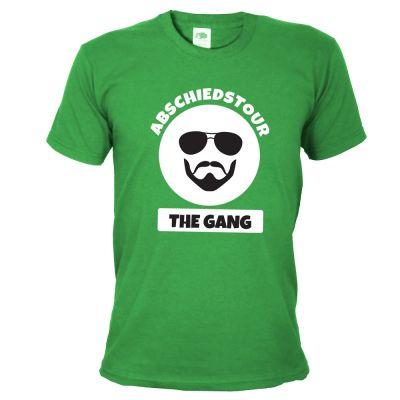 Grünes JGA Abschiedstour-Shirt mit Gangster-Motiv