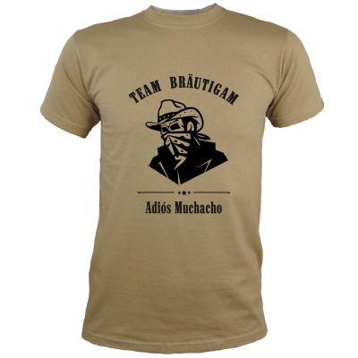 Herren JGA-Shirt mit Adios Muchacho-Motiv in Khaki