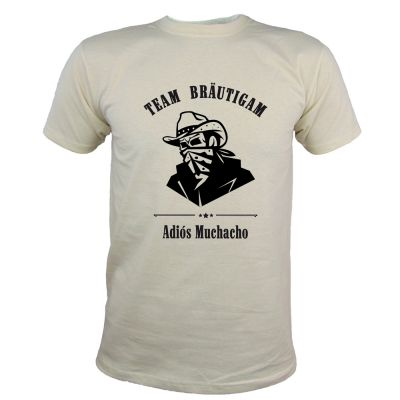 Herren JGA-Shirt mit Adios Muchacho-Motiv in Naturfarben