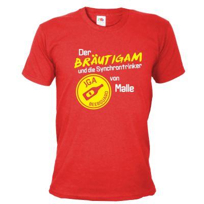 JGA-Shirt Bräutigam - Synchrontrinker von Malle - Rot