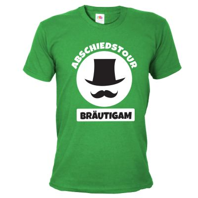 Grünes Bräutigam JGA-Shirt mit Zylinder-Motiv