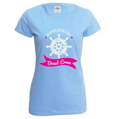 Hellblaues Damen JGA-Shirt mit Braut Crew Aufdruck