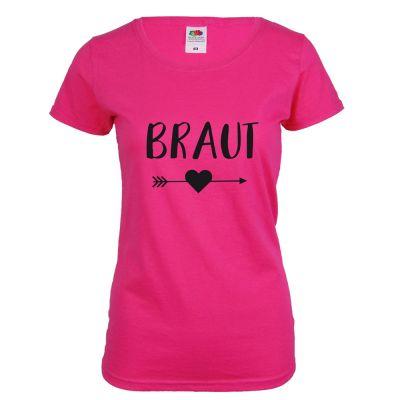 Pinkfarbenes Braut JGA-Shirt mit schwarzem Herz und Pfeil-Aufdruck