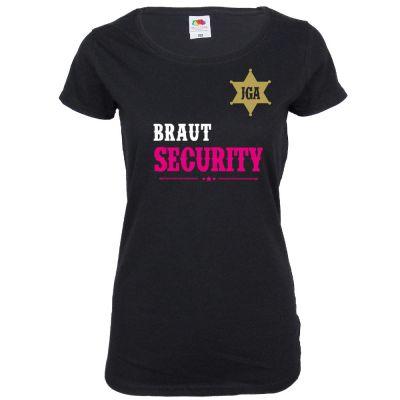 Schwarzes Braut Security T-Shirt im Western-Look für den Junggesellinnenabschied