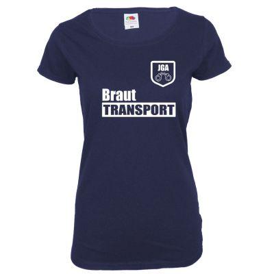 Blaues JGA T-Shirt mit Braut Transport-Aufdruck