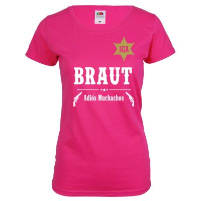 Pinkfarbenes Braut T-Shirt im Western-Design für den JGA