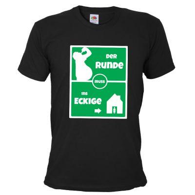 Schwarzes JGA Fußball-Shirt - Der Runde muss ins Eckige-Aufdruck