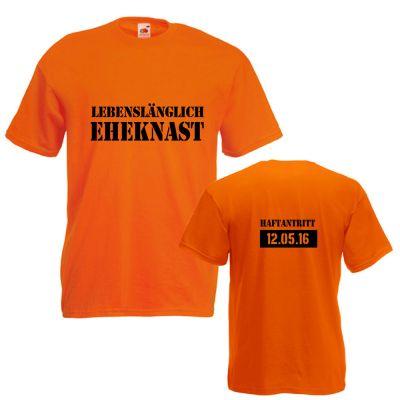 Orangefarbenes Herren-JGA-Shirt mit Eheknast-Schriftzug - Vorder- und Rückansicht