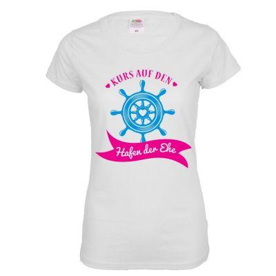 Weißes JGA Damen-Shirt mit Hafen der Ehe-Aufdruck