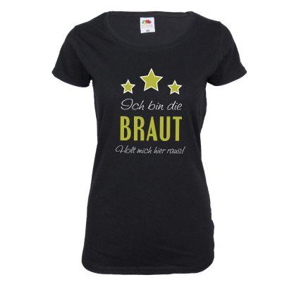 JGA T-Shirt Braut - Holt mich hier raus - Schwarz