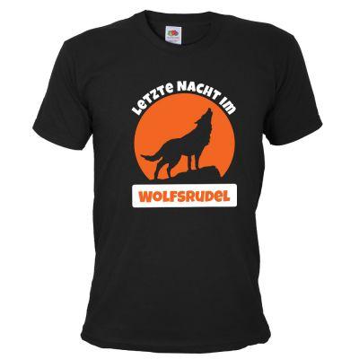 Schwarzes Herren JGA-Shirt mit Letzte Nacht im Wolfsrudel-Schriftzug