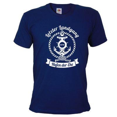 Blaues JGA Marine-Shirt mit Letzter Landgang-Aufdruck