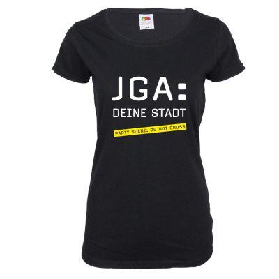 Personalisiertes Damen JGA-Shirt mit Namen der Stadt - Schwarz