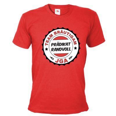 Rotes Herren JGA-Shirt mit Prädikat Randvoll-Aufdruck