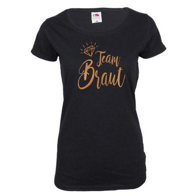 Schwarzes JGA-Shirt mit Team-Braut-Schriftzug in Kupfer