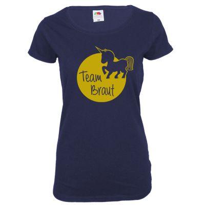 Blaues Team Braut JGA-Shirt mit Einhorn-Motiv