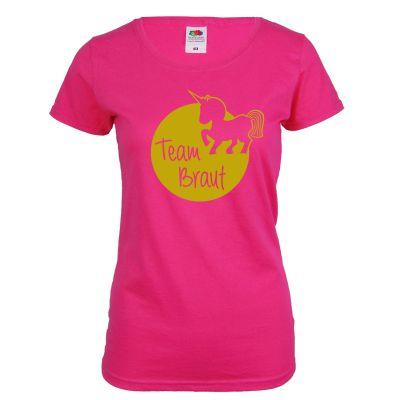 96488c7df6f163 Junggesellinnenabschied T-Shirt Team Braut mit Einhorn - Pink