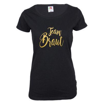 Schwarzes JGA Shirt mit goldfarbenem Team Braut-Aufdruck