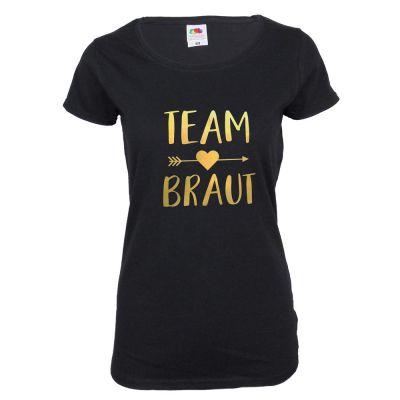 Schwarzes Team Braut JGA-Shirt mit goldfarbenem Herz und Pfeil-Aufdruck