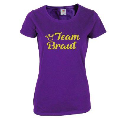 Lilafarbenes Junggesellinnenabschied T-Shirt mit goldfarbenem Team Braut-Motiv