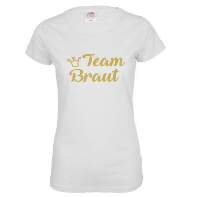 Weißes Team Braut Shirt mit goldfarbener Krone